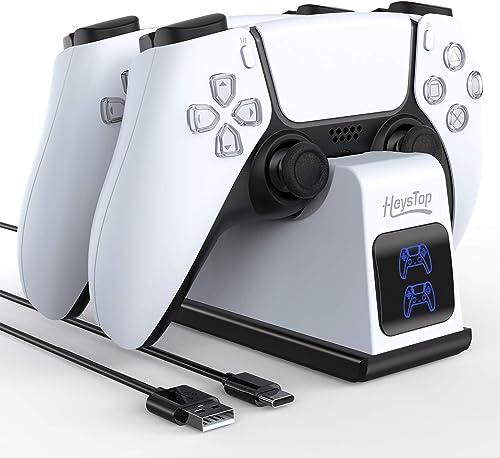 HEYSTOP Chargeur Manette PS5, Station de Chargement Compatible avec Les Manettes DualSense Playstation 5, Support Dou...