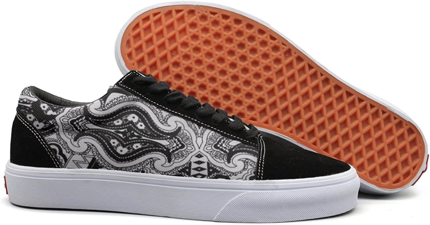 SERHJOI Keppel Teerd Women's Abstract Paisley Black Casual Flat Canvas shoes Low-top Lace-up Sneakers