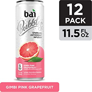 Bai Bubbles, Sparkling Water, Gimbi Pink Grapefruit, Antioxidant Infused Drinks, 11.5 Fluid Ounce Cans, 12 count