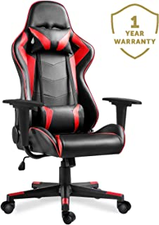 Merax PC Gaming Chair Racing for Adults/Teens/Kids Computer Office Chair Ergonomic High Back Reclining Executive Chair Comfortable for Gamers/Office Users (Black&Red: 250lbs)