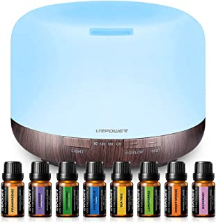 URPOWER 500ml Essential Oil Diffuser with 8 Bottles 100% Pure Essential Oils, Oil Diffuser Essential Oils Cool Mist Humidifier with 7 Color LED Light, Therapeutic Grade Essential Oils Set, 8x10ml