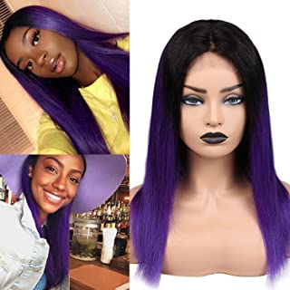 Human Hair Wig Brazilian Vingin Straight Hair Lace Front Wigs with Baby Hair Middle Part Ombre Wigs for Black Women 12 inch Purple