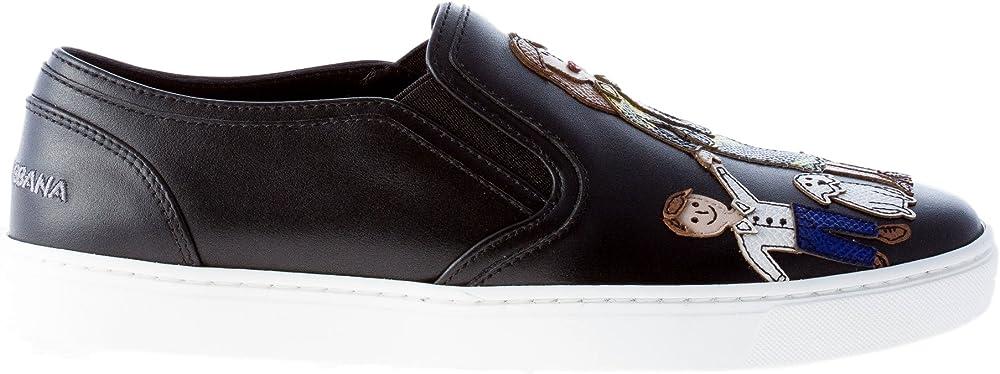 Dolce & gabbana   scarpe donna slip on in pelle nera con appliques colorate design family patch CK0028AE1598S574