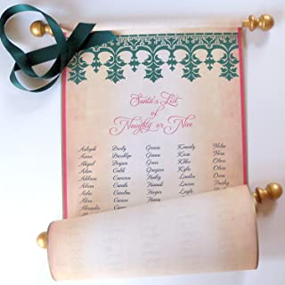 Santa's List of Naughty or Nice, 200 alphabetical names, 8x19 inches aged parchment paper, with red tube, non-custom