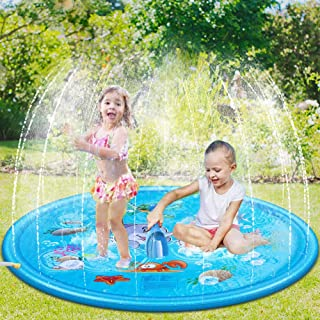 Tigerhu Sprinkler Play Mat for Kids, Splash Pad, and Wading Pool for Learning – Boys's and Girls's Sprinkler Pool, 68