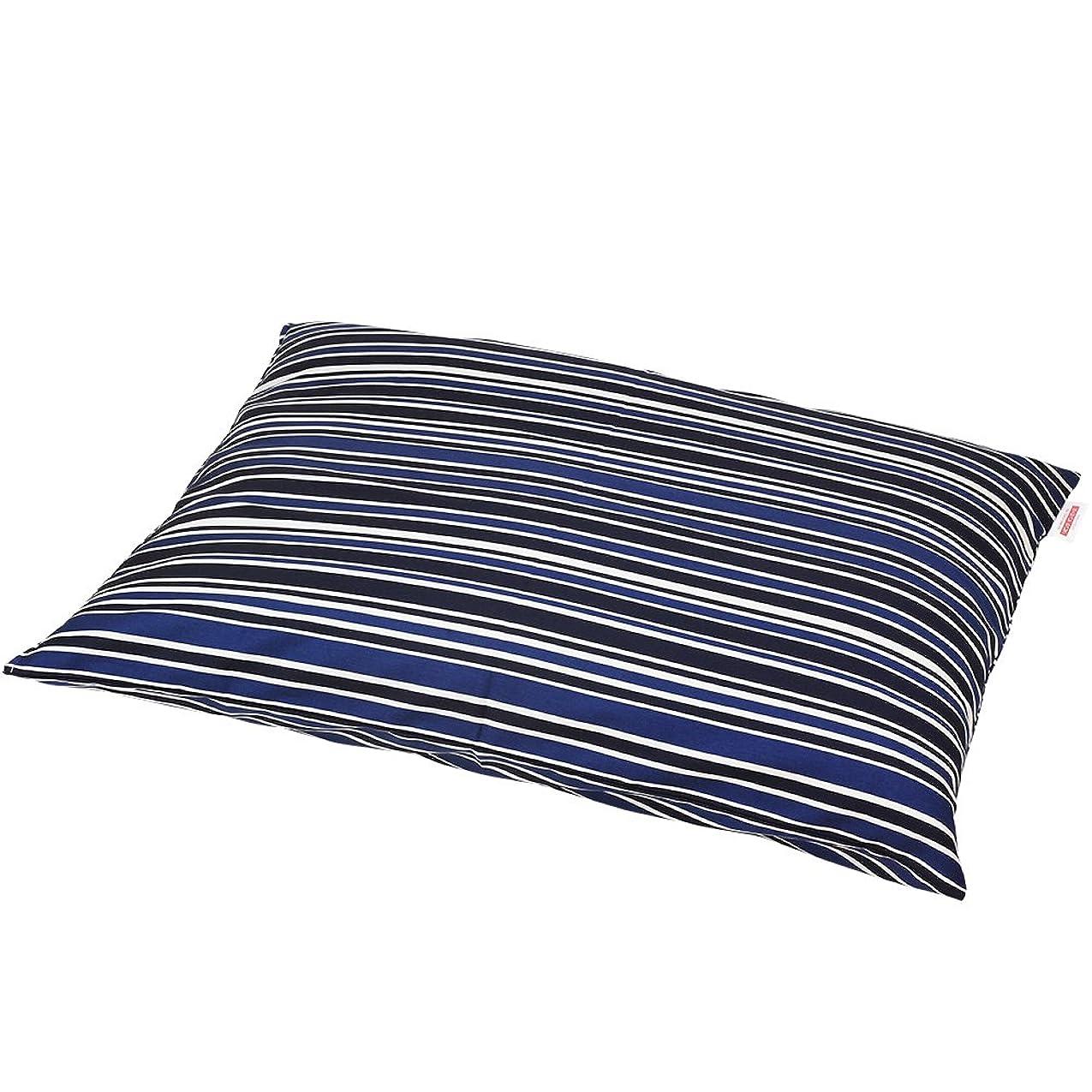 ゴムにはまって葉を拾う枕カバー 60×80cmの枕用 トリノストライプ綿100% ファスナー式 ステッチ仕上げ 日本製 枕 綿 ブルー