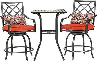 Chairs Cushion Beige eclife Steel Patio Bistro Set Premium Outdoor Rust-Resistant 3 Piece Patio Set W//Table