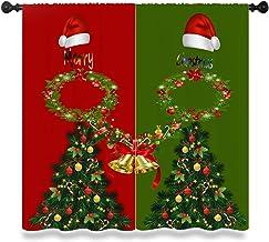 Kerst Gordijn, Vrolijk Kerstbomen Klokken Rood en Groen Mannen en Vrouwen Geïsoleerde Gordijn Kamer Versieren Raamgordijne...