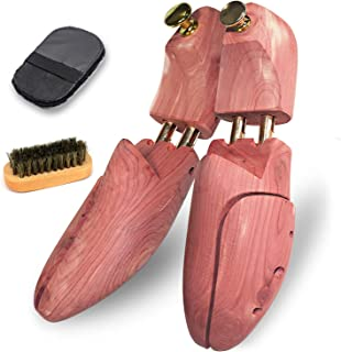 [AFELL] シューキーパー シューツリー 靴 ブラシ 靴磨き クロス付 レッドシダー 24.5-30cm対応 木製 シワ伸ばし 型崩れ防止 脱臭 香り