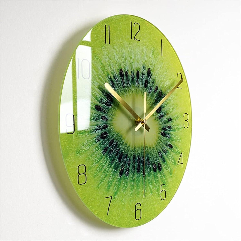 Reloj de pared de cristal de aguja ancha dorada Varias frutas creativas relojes de moda para el hogar decoración silencioso moderno minimalista digital interior mudo arte deco para sala de estar dormi