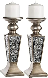 Creative Scents Schonwerk Pillar Candle Holder Set of 2- Crackled Mosaic Design- Home..