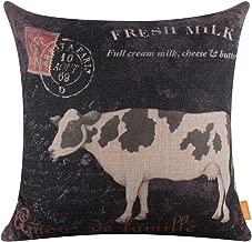 LINKWELL 18x18 Retro Farm Fresh Milk Cow Home Decor Burlap Cushion Covers Pillow Case