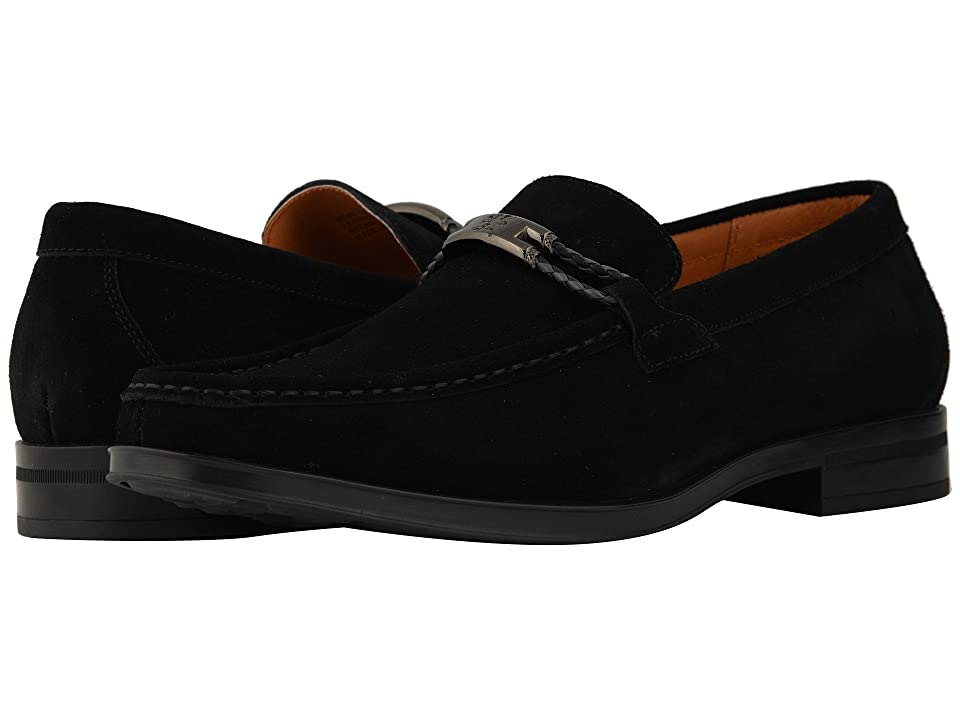 Stacy Adams Neville Moc Toe Penny Loafer (Black Suede) Men