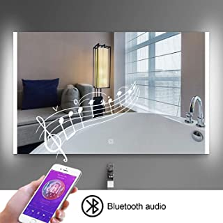 "HEYNEMO 32""x24"" LED Lighted Bathroom Vanity Mirror with Bluetooth, Anti-Fog Bathroom Mirror Wall Mounted Vanity Makeup Mir..."