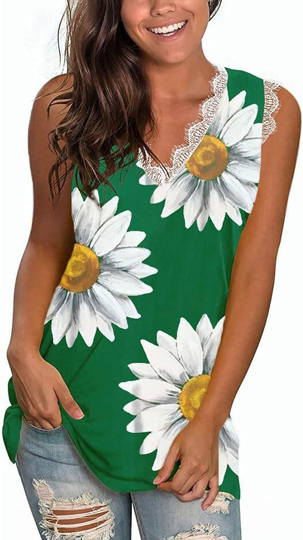 Jaqqra Tank Tops for Women, Women's Lace V-Neck Sunflower Print Summer Tops Sleeveless Shirt Casual Loose Blouse Vest