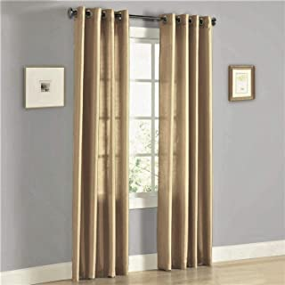 2 Panel Faux Silk Solid Curtain Drapes with Bronze Grommet (108