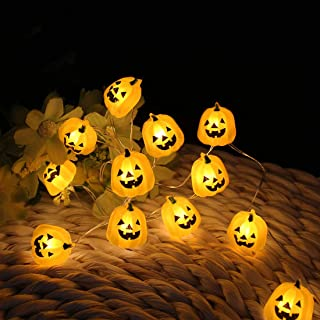 Halloween Lights 3D Jack-o-Lantern 10ft 30 LEDs Pumpkin String Lights Halloween Decoration for All Saints' Day, Carnival, Centerpiece, Patio, Backyard, Fence, Outdoor, Children Room (Warm White)