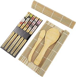 comprar comparacion BESTONZON 15pcs kit de sushi de bambú que hace con 2 cintas de correr 5 pares de palillos de arroz paddle rice spreader