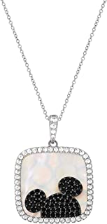 Mickey Mouse Jewelry for Women, Sterling Silver Cubic Zirconia and Mother of Pearl Mickey Mouse Pendant Necklace, 18 Inch Chain,
