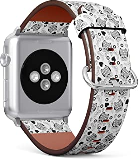 Compatible with Apple Watch (Big 42mm/44mm) Series 1,2,3,4 - Leather Band Bracelet Strap Wristband Replacement - Owl Black White Color Valentines