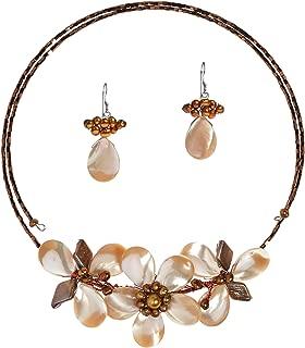 AeraVida Chic Floral Ornate Light Brown Mother of Pearl & Brown Mother of Pearl Jewelry Set