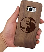 Wood Case for Galaxy S8 Plus SM-G9550, Wood Pattern [Laser Printing] Rugged [Dual Layer] High Impact Durable Back Wooden Case Cover for Samsung Galaxy S8 Plus(Taiji cat)