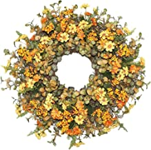Autumn Wreath Natural Artificial Door Wreath Decorations Wall Wreath Best for Porch Front Door Fireplace Wall Garage Outdo...