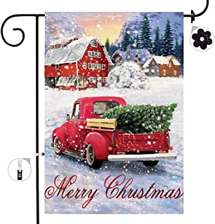 Bonsai Tree Christmas Burlap Garden Flags, Double Sided Red Truck with Christmas Tree House Flags, Merry Christmas Winter Signs Rustic Outdoor Decorations Yard 12 x 18 Prime