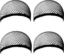 Ouinne 4 Piezas Gorras de Peluca Elásticos Negro Malla para Mujeres y Hombres
