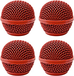 Seismic Audio - SA-M30Grille-Red-4Pack - 4 Pack of Replacement Red Steel Mesh Microphone Grill Heads - Compatible with SA-M30, Shure SM58, Shure SV100 and Similar