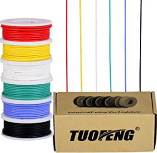 TUOFENG 22awg Silicone Wire Kit- 22 Gauge Flexible Silicone Wire- 6 different colored 26 Feet spools- Tinned Copper Wire 600V Electronic Hook up wire Kit