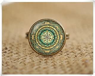 Sri yantra Rings, Sacred geometry Rings, Sri yantra jewelry