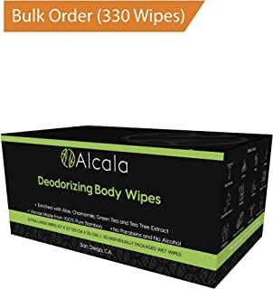 Deodorizing Body Wipes 100% Pure Bamboo with Tea Tree Oil, Individually Wrapped Biodegradable Shower