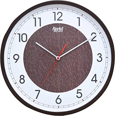 Ajanta Plastic Real Silent Sweep Movement Designer 12 Inch Wall Clock for Home and Office (Brown)