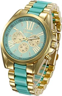 Unisex Roman Numeral Gold Plated Stainless Steel Two Tone Analog Quartz Watch