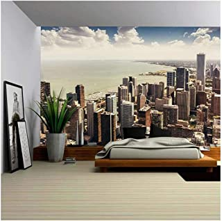 wall26 - Chicago, Illinois in The United States. City Skyline with Skyscrapers. - Removable Wall Mural | Self-Adhesive Large Wallpaper - 100x144 inches