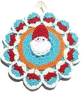 Agarradera de colores redonda con Papá Noel para Navidad de ganchillo- Tamaño: 14 cm x 17 cm H - Handmade - ITALY