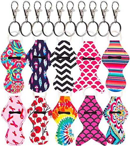 Heyah 10 Pack Vibrant Chapstick Holder Keychain with 10 Metal Clip Cords, Lightweight, Perfect Portable Pouch for Bur...