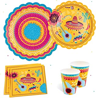 Fiesta Party Supplies Pack Serves 16 - Includes Large Paper Plates, Small Plates, Cups, and Napkins   Birthday, Taco Part...