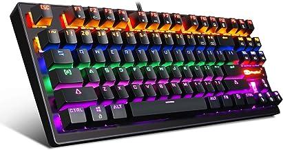 RGB Mechanical Gaming Keyboard,LED Rainbow Backlit,Blue Mech