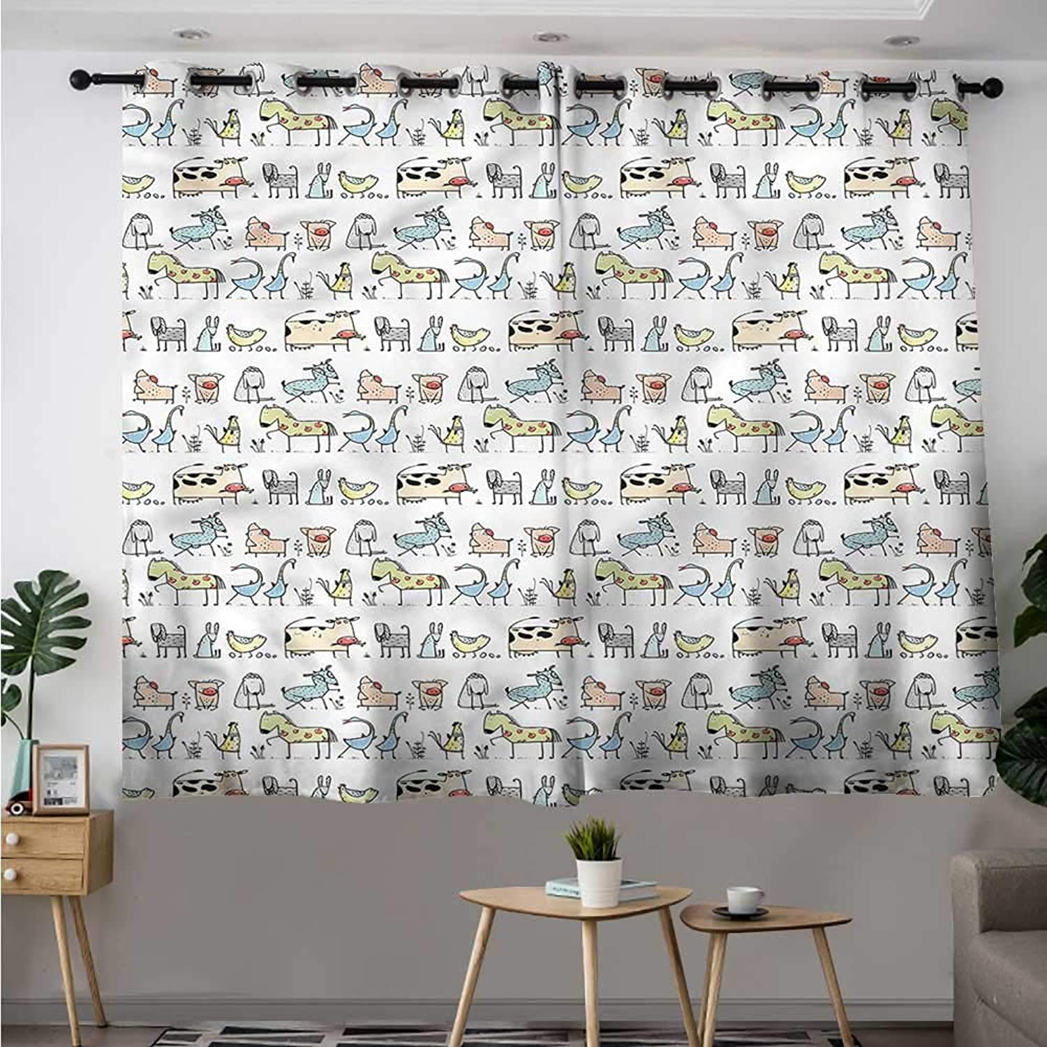 Fbdace Kids Simple Curtain Cartoon Village Animals Space Decorations Simple Stylish W 63  XL 45