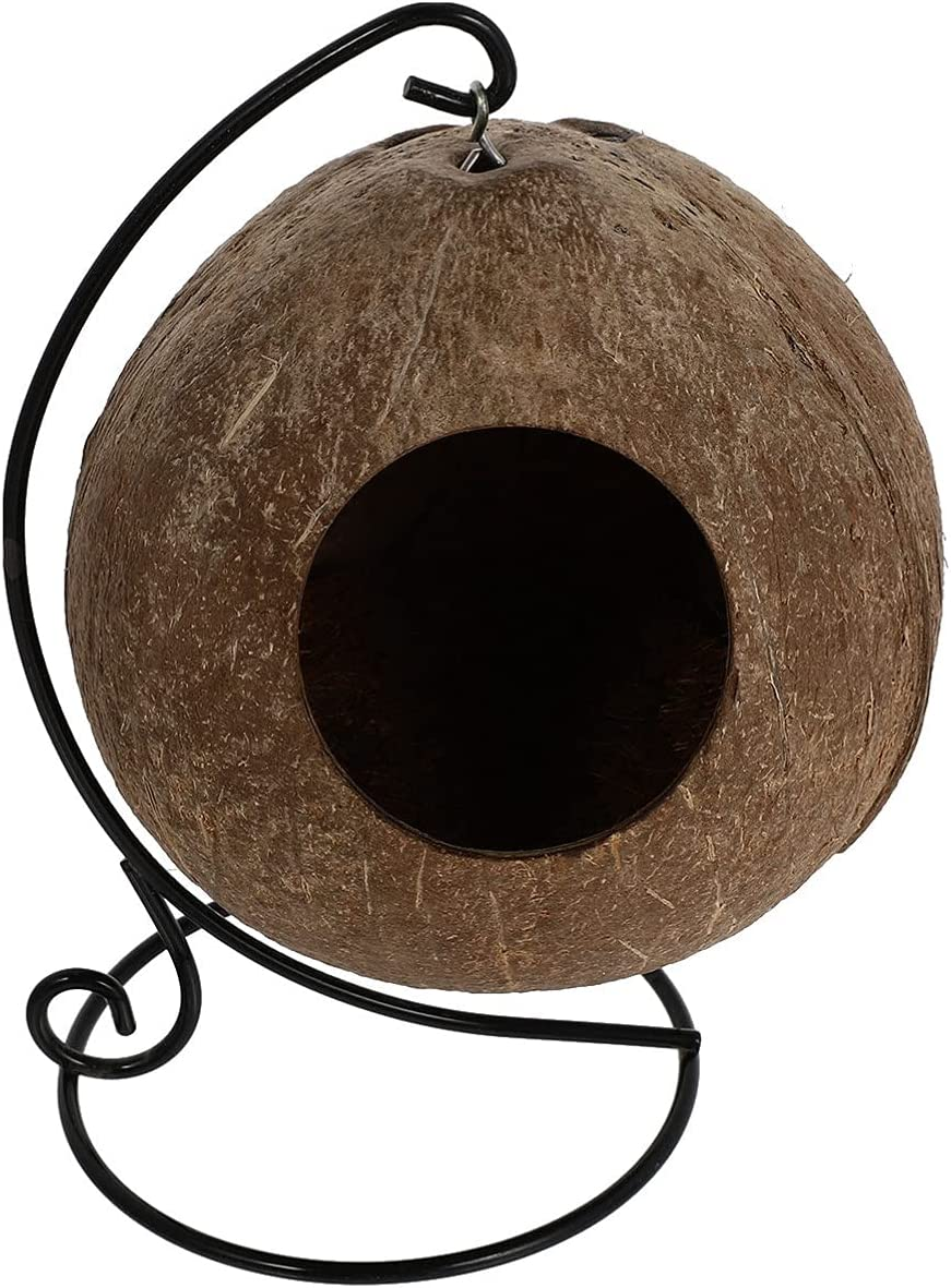 Balacoo Hamster Hanging House Small Award-winning store Coconut Max 89% OFF Shell Animals Feeder
