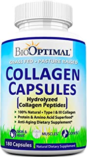 BioOptimal Collagen Pills - Collagen Supplements, Grass Fed, 180 Capsules, Non-GMO, for Women & Men, Benefits Skin, Hair, Nails & Joints, Collagen Capsules, Premium Quality
