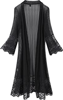 451f91005ae Tanming Flare Sleeves Open Front Lace Splicing Long Kimono Cardigan Cover  Ups