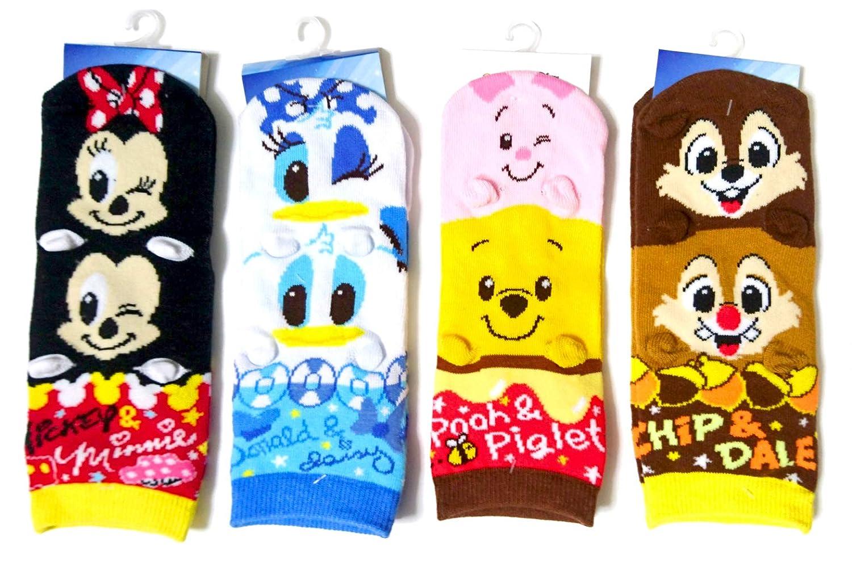 ディズニー 手付き レディースソックス 4柄セット(ミッキー&ミニー?ドナルド&デイジー?プー&ピグレット?チップ&デール) 女性用靴下