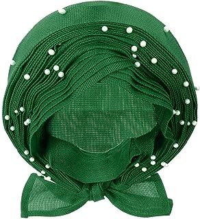 10 Types Already wear African Gele Headwear African gele already heatie Aso oke headtie with beads for women Fabric (Green)