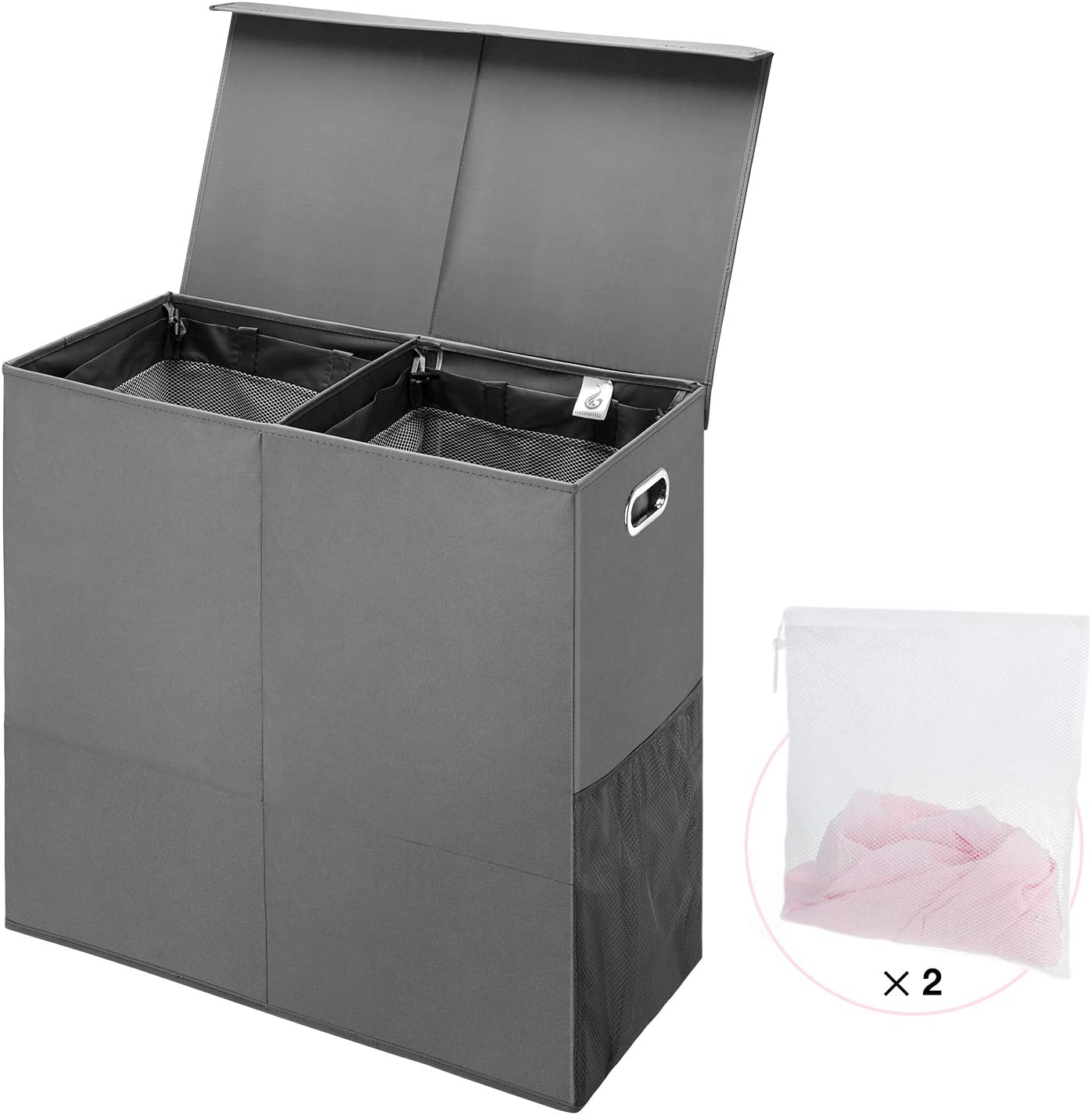 GREENSTELL Laundry Hamper with Lid Foldable 専門店 Divided ランキングTOP5 Handles and