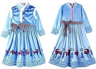 Snow Princess Elsa Dress Crown Adventure Costume Fancy Long Sleeve Girls Kids