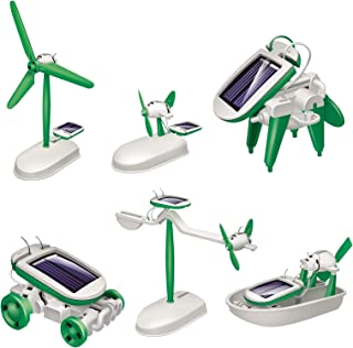 Albugreen STEM 6-in-1 Solar Robot Toys, Educational DIY Building Science Experiment Kits with Solar Powered for Kids Ages 8-12 and Older Boys Girls Students Teens Gifts,Green