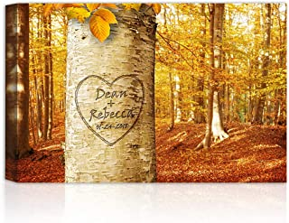 Love Growing - Personalized Canvas Prints Gift Couple's Names and the Special Date Gift for Anniversary, Valentine's day,Wedding.